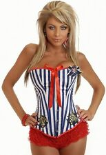 Pin Up Sailor Corset Top With Optional Red Frilly Knickers Or Red Mini Tutu