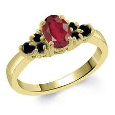 0.85 Ct Oval African Red Ruby Black Diamond 18K Yellow Gold Ring