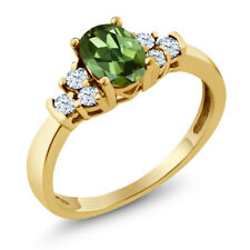 0.64 Ct Oval Green Tourmaline White Topaz 18K Yellow Gold Ring