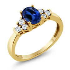 0.92 Ct Blue Simulated Sapphire White Topaz 925 Yellow Gold Plated Silver Ring