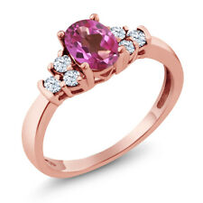 0.79 Ct Oval Pink Mystic Topaz White Topaz 925 Rose Gold Plated Silver Ring