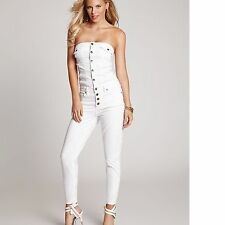 New Guess Women's Button-Up Stretch Denim Strapless White Jumpsuit