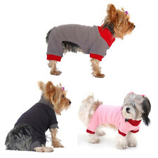 Pet Dog Puppy Clothes Cotton Knit Cuff Neckline Trim Jumpsuit Pajamas Coat