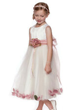 Dusty Rose Petals Flower Girls Dresses Sash dresses Wedding Pageant Bridesmaid