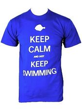 New Keep Calm and Just Keep Swimming Blue Men's T-Shirt