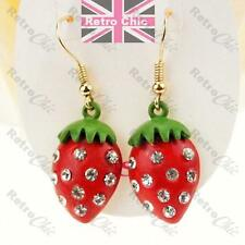 STRAWBERRY crystal CUTE EARRINGS red/green SPARKLY RHINESTONE gold/silver tone