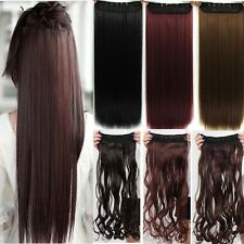 Extra long One Piece Clip on Hair Extensions 3/4 Full Head Women Hair pieces hg