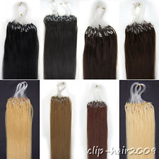 Women Hair Extensions Easy Loops tipped Micro Ring Beads Remy Human Hair 16Inch