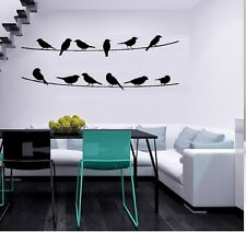 """BIRDS ON WIRE OUTDOOR NATURE VINYL DECAL WALL LETTERS WORDS HOME DECOR 12""""X35"""""""