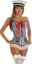 Nautical Pin Up Sailor Corset Costume - Top Only or with Sailor Hat