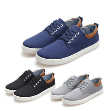New Men's Lace Up Flats Canvas Board Flat Shoes Casual Loafers Sneakers T139
