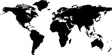 """Global World Map Atlas Vinyl Wall Decal Large Size 30+ Colors 18"""" x 36"""""""