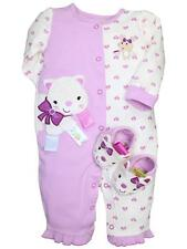 Girls Taggies Infant Baby Kitty One Piece Coverall Romper Pajamas & Slipper Set
