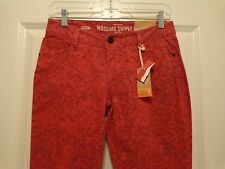 Womens Juniors MOSSIMO SUPPLY CO SKINNY LOW RISE Jeans ~ Red/Black Print ~ NWT's