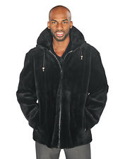 NEW: Mens Sheared Beaver Zippered Bomber Jacket -Black