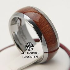 Tungsten Carbide Ring 8MM Elegant Oak Wood Inlay Wedding Anniversary Band ATG097