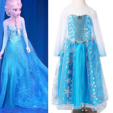 Girls Kids Frozen Princess Elsa Fancy Dress 1-12 Yrs Halloween Costumes