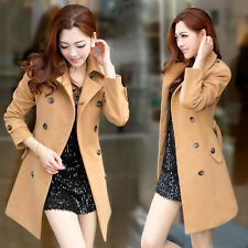 2014 Women's Wool Jackets Long Slim Double-breasted Trench Coat Belted Jacket