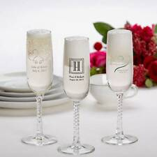24 Custom Printed Glass Champagne Flutes Wedding Party Supplies Braided Stem
