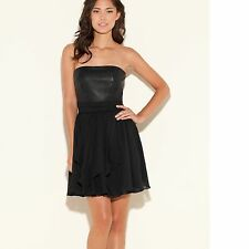New Guess Women's Layla Strapless Flared Skirt Black Faux-leather Dress
