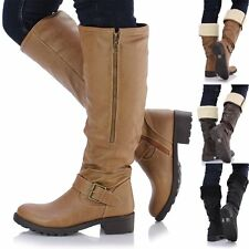 Womens Ladies Chunky Low Heel Knee High Fur Lined Flat Biker Riding Calf Boots