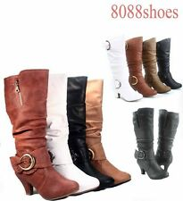 Women's Fashion Mid-Calf Low Heel Round Toe Big Buckle Boots Shoes Size 5-10 NEW