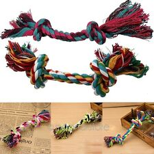 Puppy Cat Animal Toys Pet Dog Chew Cotton Braided Rope 2 Knot Tug Toy Chew Tool