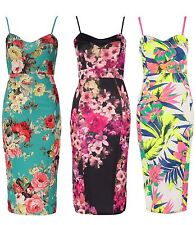 Womens Celebrity Green Floral Tropical Print Ladies Bodycon Pencil Midi Dress