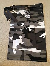 NWT Men's Regal Wear Black White Camouflage Camo Belted Cargo Shorts ALL SIZE