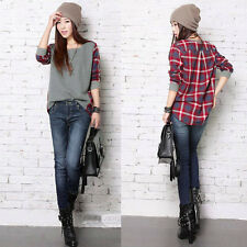 Fashion Women Ladies Plaid Checked Long Sleeve Casual Loose T shirt Tops Blouse