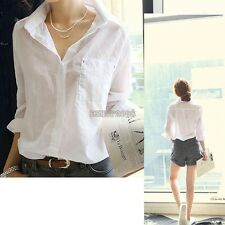 Women Button Down T Shirt Blouse Tops Long Sleeve Casual White M L XL Solid EP98