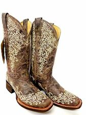 """Square Toe Embroidery ~Womens Corral """"Crater Bone""""  # A2663 Lacey Wedding Boots"""