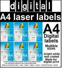 Digital A4 adhesive labels on A4 laser sheet, 1,2,4,6,8,10,12,14,16,18,21,24,40,