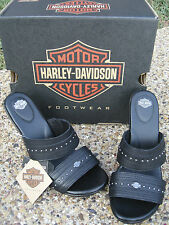 NEW Ladies Harley Davidson Barbata Black Leather Studded Wedge Sandals Shoes