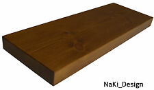 HANDMADE CHUNKY WOODEN FLOATING SHELF 22 cm deep x 4 cm thick DARK OAK FINISH