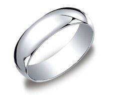 Mens Women Solid 10K White Gold Plain Wedding Band Comfort Fit 3MM-6MM