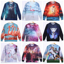Hot! Mens Womens 3D Space Galaxy Sweatshirt sweater Pullover Top Jumper S/M/L/XL