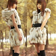 Fashion Women New Real Rex Rabbit Fur Vest With Hooded Winter Warm Waistcoats