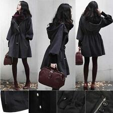 Womens Winter Warm WOOLEN Trench Coat Parka puff sleeve Jacket Fashion Outerwear