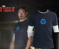 Cool! Special Blue Ray  Night Luminous T-Shirt Iron ManTony Stark Arc Reactor