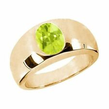 1.65 Ct Oval Yellow VS Lemon Quartz 925 Yellow Gold Plated Silver Men's Ring