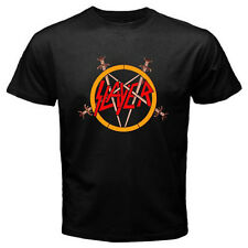 New SLAYER Pentagram Logo Heavy Metal Rock Band Men's Black T-Shirt Size S-3XL