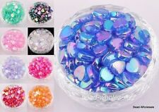 Wholesale 60pcs AB Color Heart Shaped Acrylic Spacer Beads Findings 9mm NEW