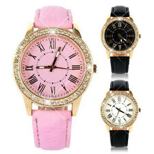 Womens Geneva Bling Crystal Faux Leather Strap Golden Analog Quartz Wrist Watch