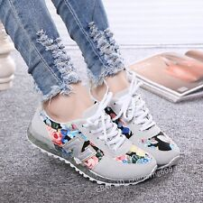 Fashion Women Lace up Flats Sneakers Platform Floral Athletic Casual shoes NX80