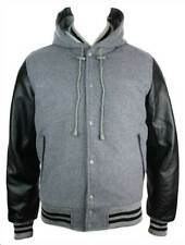 Mens Grey College Baseball Black Real Leather Arms Bomber Hooded Jacket Varsity