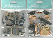 Jolee's    HAUNTED HOUSE   VINTAGE RAVENS & WORDS  3D Stickers halloween