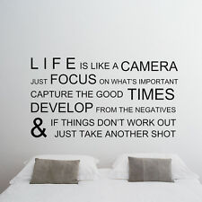 Christmas wall decal Life like camera quote Vinyl sticker Room Home Holiday Gift