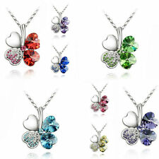 Lucky Women's Four Leaf Silver Clover Chain Statement Crystal Pendant Necklace