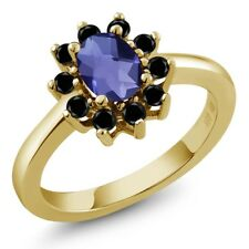 0.98 Ct Oval Checkerboard Blue Iolite Black Diamond 18K Yellow Gold Ring
